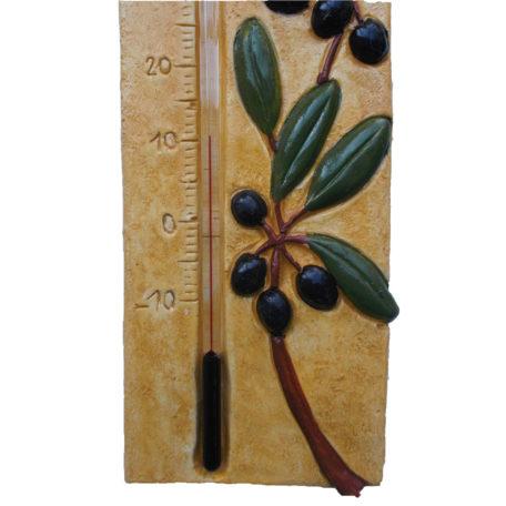 Thermomètre provençal avec olives, détail 1