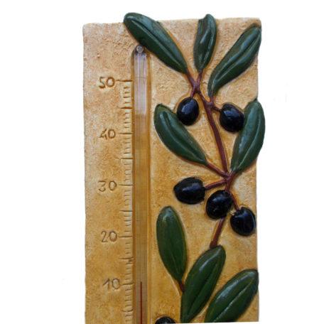Thermomètre provençal avec olives, détail 2