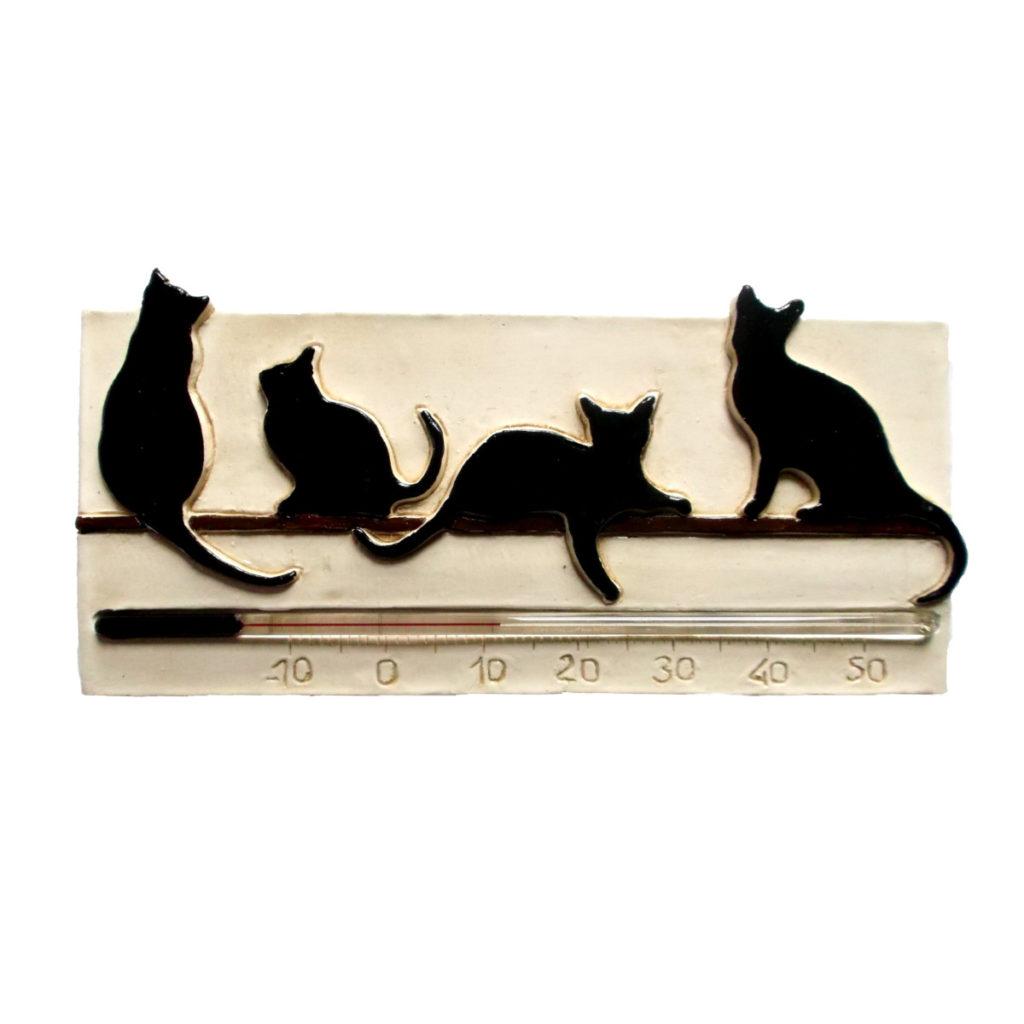 Thermomètre chat noir