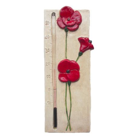 Thermomètre coquelicot rouge