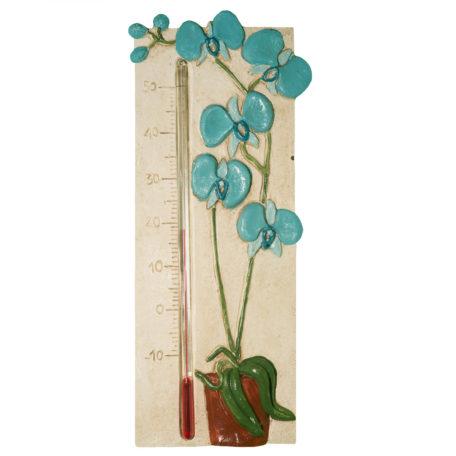 Thermomètre orchidée bleu