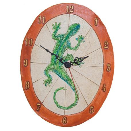 Horloge artisanale avec un gécko, salamandre