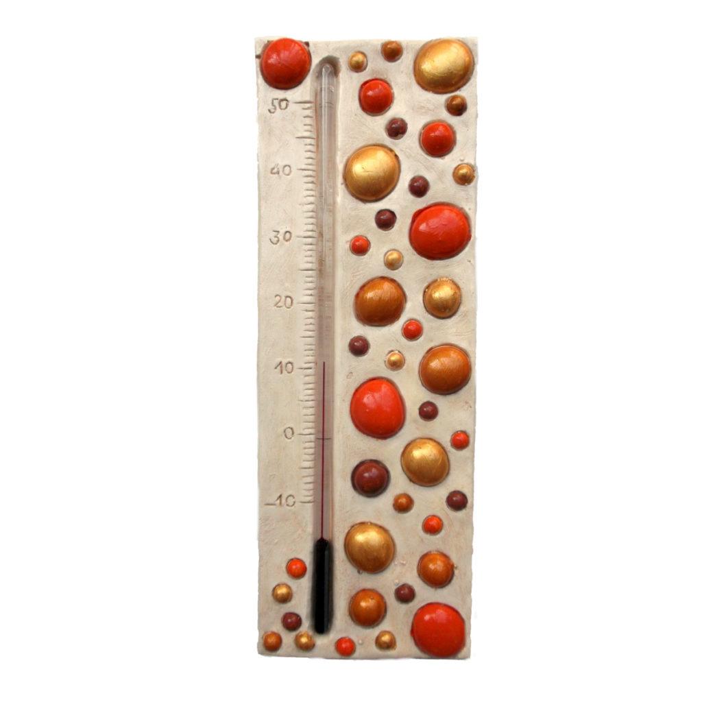 Thermomètre bulle oranges, dorées, cuivrées et marron givré