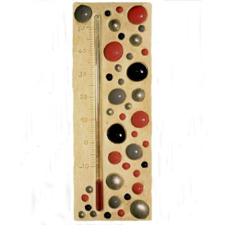 Thermomètre bulle rouges, noir, gris et argenté