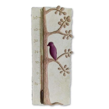 Thermomètre de chambre de bébé avec un oiseau prune