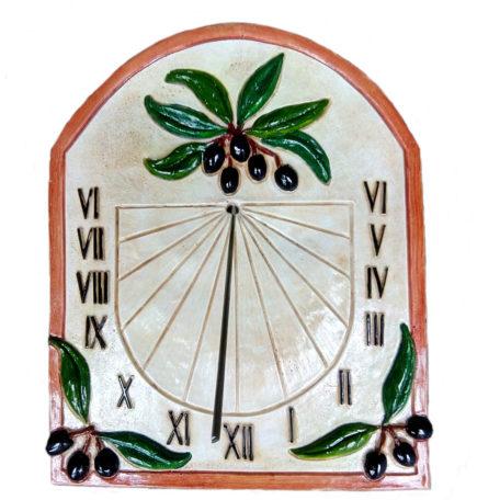 Cadran solaire provençal terre de sienne, motif olives