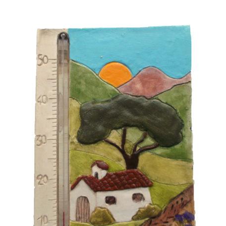 Thermomètre maison provençale et ses champs de lavande  en détail