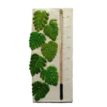Décoration tropicale originale avec thermomètre monstera