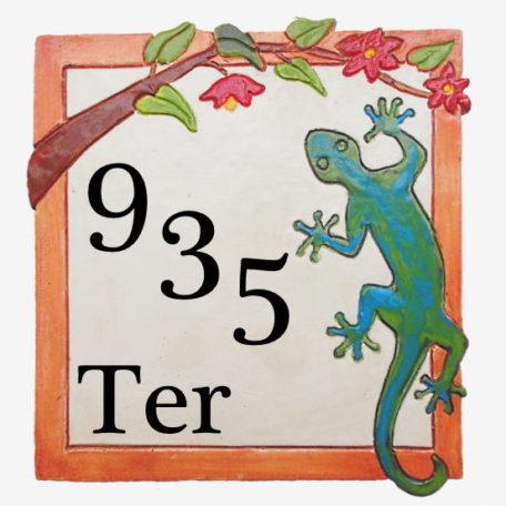 Plaque numéro de maison personnalisé avec 3 chiffres obliques et Ter