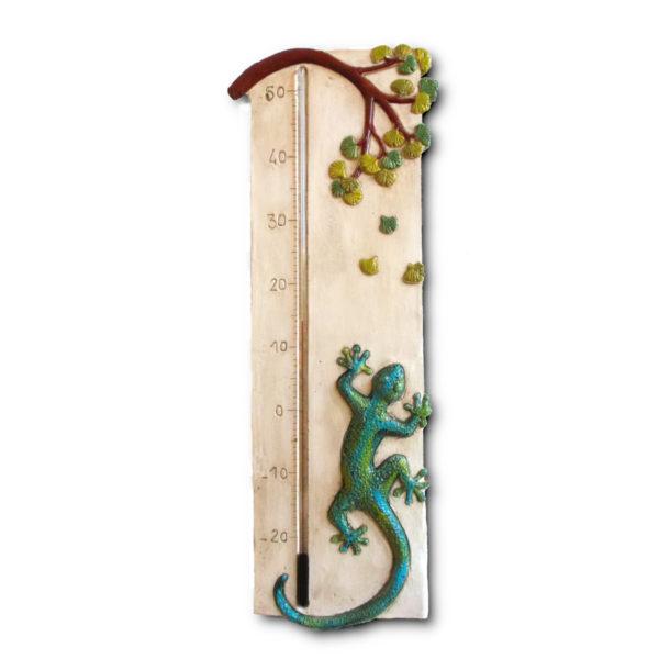 Thermomètre géant salamandre avec feuilles de Ginkgo Biloba