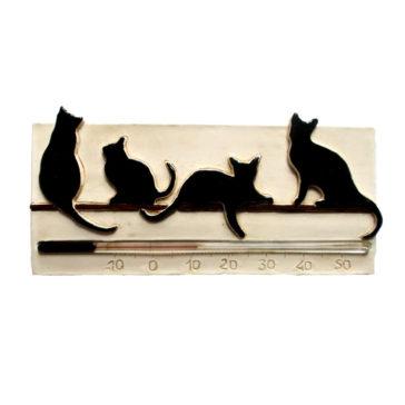 Décoration personnalisable: Le thermomètre horizontal chat