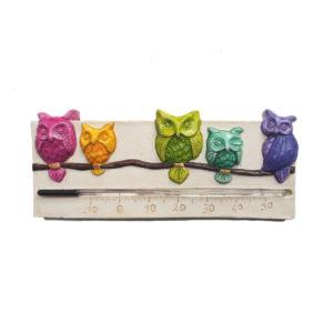 Thermomètre avec chouettes multicolores, forme horizontale