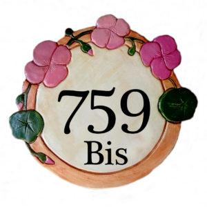 Numéro de maison personnalisé avec capucines roses