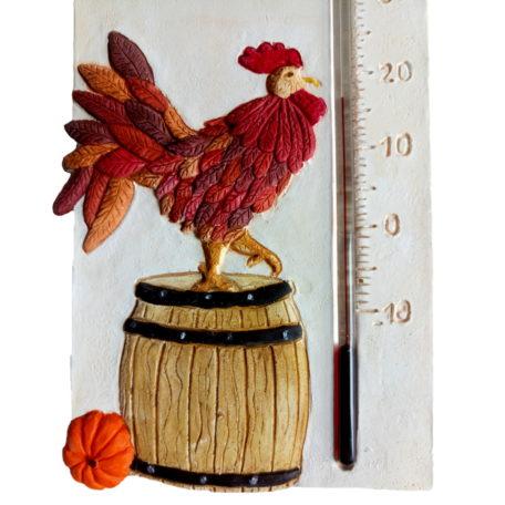 Un gros plan du thermomètre coq français avec mise en évidence des détails